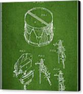 Vintage Snare Drum Patent Drawing From 1889 - Green Canvas Print by Aged Pixel