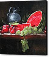 Watermelon And Plums Canvas Print by Ellen Howell