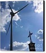Wind Turbine And Cross Canvas Print by Bernard Jaubert