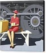 Woman With Locomotive Canvas Print