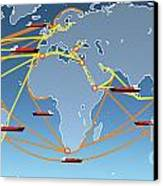World Shipping Routes Map Canvas Print by Atiketta Sangasaeng