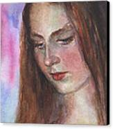Young Woman Watercolor Portrait Painting Canvas Print by Svetlana Novikova