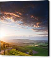 Beautiful English Countryside Landscape Over Rolling Hills Canvas Print