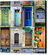 16 Doors In France Collage Canvas Print by Georgia Fowler