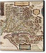 1630 Hondius Map Of Virginia And The Chesapeake Canvas Print by Paul Fearn