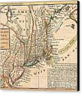 1729 Moll Map Of New York New England And Pennsylvania  Canvas Print