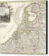 1775 Janvier Map Of Holland And Belgium Canvas Print
