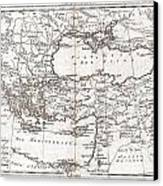 1780 Raynal And Bonne Map Of Turkey In Europe And Asia Canvas Print