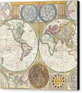 1794 Samuel Dunn Wall Map Of The World In Hemispheres Canvas Print by Paul Fearn