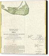 1846 Us Coast Survey Map Of Nantucket  Canvas Print by Paul Fearn