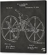 1869 Velocipede Bicycle Patent Artwork - Gray Canvas Print by Nikki Marie Smith