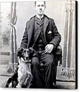 1890 Gentleman And His Dog Canvas Print by Historic Image
