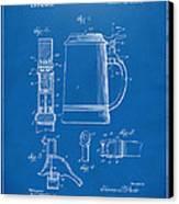 1914 Beer Stein Patent Artwork - Blueprint Canvas Print by Nikki Marie Smith