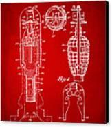 1921 Explosive Missle Patent Minimal Red Canvas Print