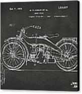 1924 Harley Motorcycle Patent Artwork - Gray Canvas Print