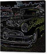 1950 Ford Coupe Neon Glow Canvas Print