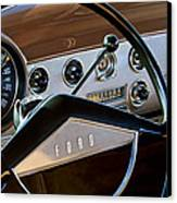 1951 Ford Crestliner Steering Wheel Canvas Print by Jill Reger