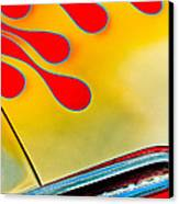 1954 Studebaker Champion Coupe Hot Rod Red With Flames - Grille Emblem Canvas Print