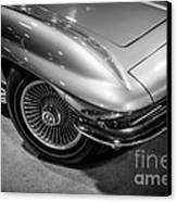 1960's Corvette C2 In Black And White Canvas Print by Paul Velgos