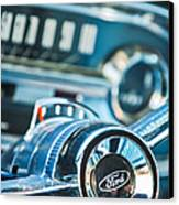 1963 Ford Falcon Futura Convertible  Steering Wheel Emblem Canvas Print by Jill Reger