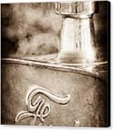 1911 Ford Model T Torpedo 4 Cylinder 25 Hp Hood Ornament - Emblem Canvas Print by Jill Reger