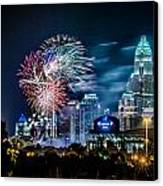 4th Of July Firework Over Charlotte Skyline Canvas Print