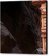 A Glimpse Of Al Khazneh From The Siq In Petra Jordan Canvas Print