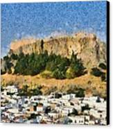 Acropolis And Village Of Lindos Canvas Print by George Atsametakis