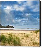 Beautiful Blue Sky Morning Landscape Over Sandy Three Cliffs Bay Canvas Print by Matthew Gibson