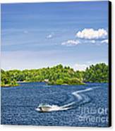 Boating On Lake Canvas Print by Elena Elisseeva