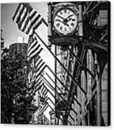 Chicago Macy's Clock In Black And White Canvas Print by Paul Velgos