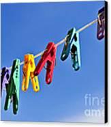 Colorful Clothes Pins Canvas Print by Elena Elisseeva