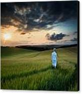Concept Landscape Young Boy Walking Through Field At Sunset In S Canvas Print by Matthew Gibson
