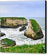 Dramatic Panoramic View Of Shark Fin Cove Canvas Print by Jamie Pham