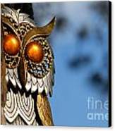 Faux Owl With Golden Eyes Canvas Print