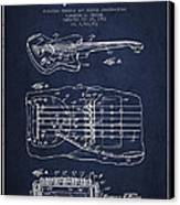 Fender Floating Tremolo Patent Drawing From 1961 - Navy Blue Canvas Print