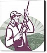 Fly Fisherman Fishing Retro Woodcut Canvas Print by Aloysius Patrimonio