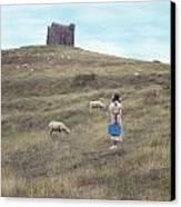 Girl With Sheeps Canvas Print by Joana Kruse
