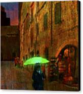 Green Umbrella Canvas Print by Patrick J Osborne