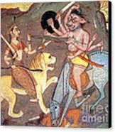 Hindu Goddess Durga Fights Mahishasur Canvas Print by Photo Researchers
