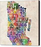 Manhattan New York Typographic Map Canvas Print