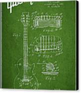 Mccarty Gibson Les Paul Guitar Patent Drawing From 1955 - Green Canvas Print by Aged Pixel