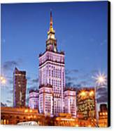 Palace Of Culture And Science At Dusk In Warsaw Canvas Print by Artur Bogacki