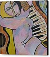 Pianos And Guitars Canvas Print by Chaline Ouellet