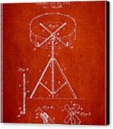 Portable Drum Patent Drawing From 1903 - Red Canvas Print by Aged Pixel