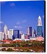 Skyline Of Uptown Charlotte North Carolina At Night Canvas Print