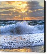 Splash Sunrise Canvas Print by Debra and Dave Vanderlaan