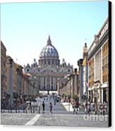 St Peter Basilica Viewed From Via Della Conciliazione. Rome Canvas Print by Bernard Jaubert