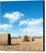Straw Bales At A Stubbel Field Canvas Print
