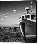 Stunning Black And White Image Of Abandoned Boat On Shingle Beac Canvas Print